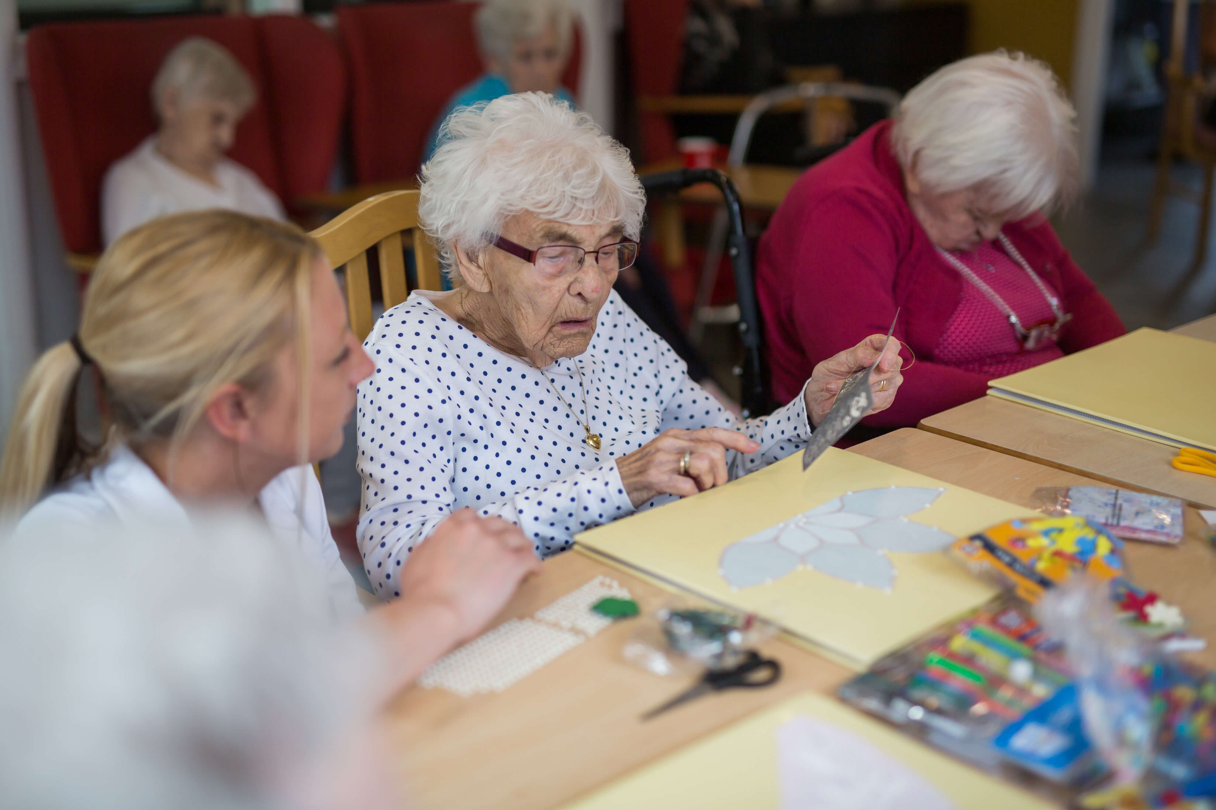 Primrose Care Home patients enjoying arts and crafts