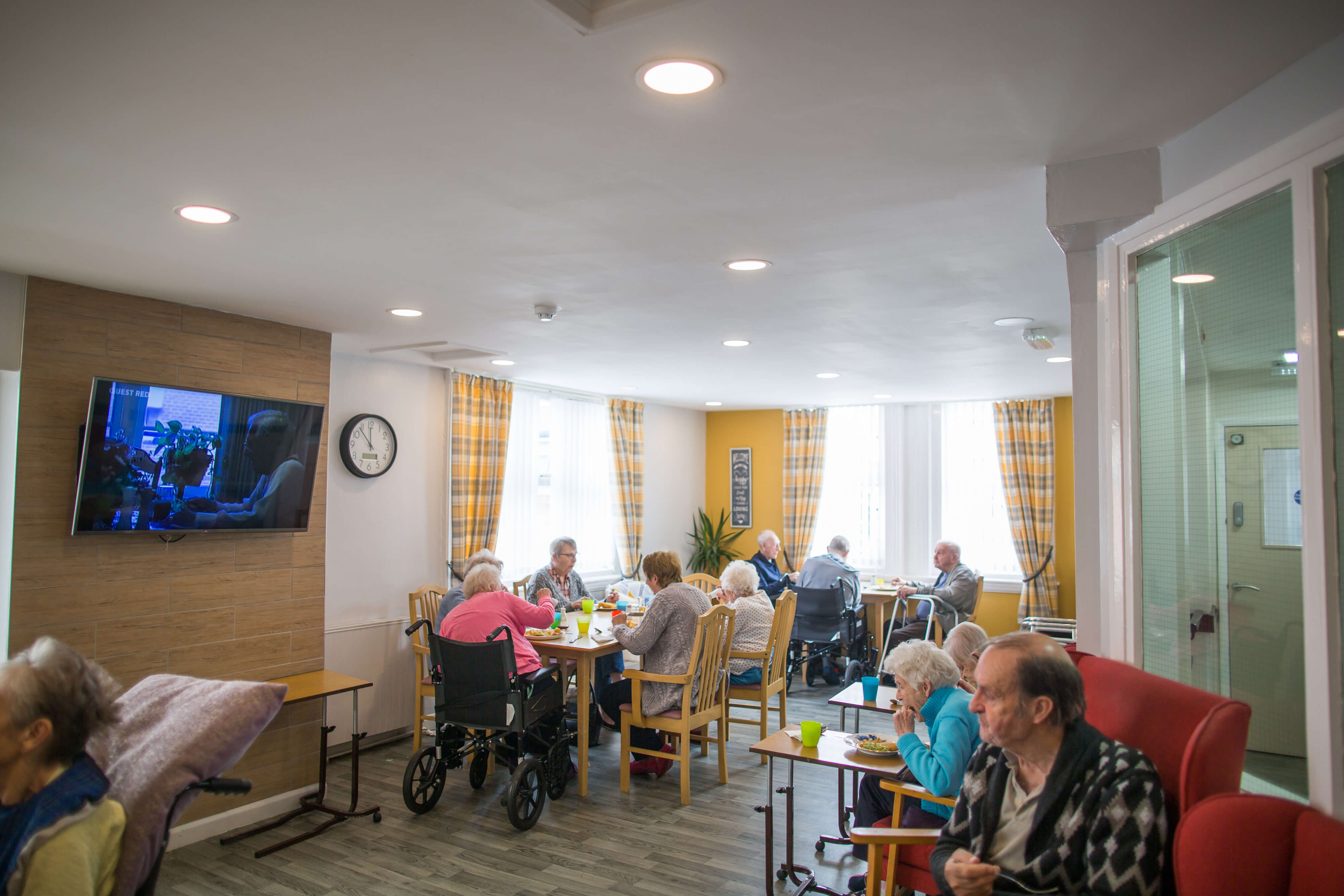 Primrose Care Home residents enjoying lunch
